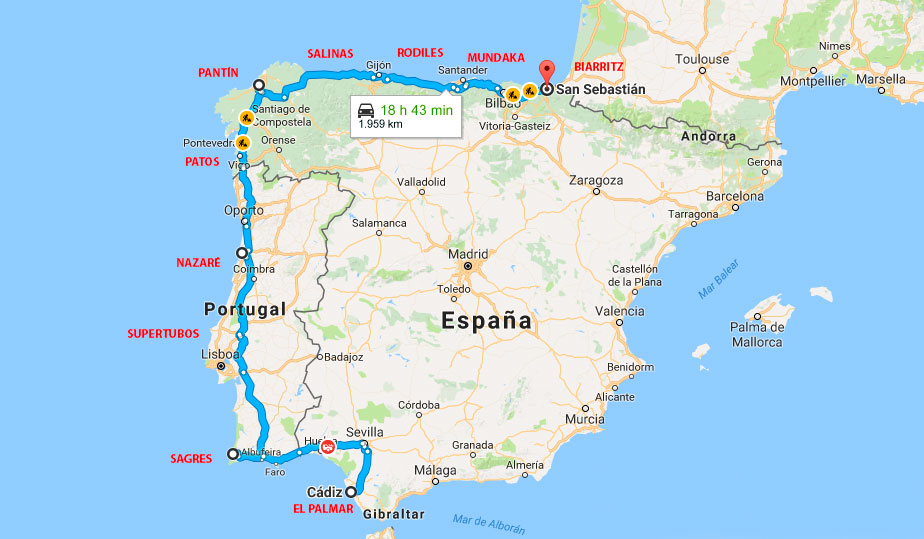 Route through the Iberian Peninsula (Spain and Portugal) - Surfari on taca route map, biman route map, air china international route map, aegean route map, lufthansa route map, island air route map, independence air route map, ba cityflyer route map, europe by air route map, s7 route map, eastern air lines route map, luxair route map, air niugini route map, houston route map, tiger air route map, saudia route map, xl airways route map, royal jordan route map, ethiopian air route map,